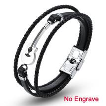 AZIZ BEKKAOUI Engrave Name Brown Guitar Bracelets Black Stainless Steel ... - $17.30