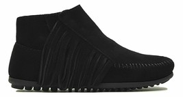 Minnetonka Lacy Fringe Suede Moccasin Boots Black 5.5 - $39.59