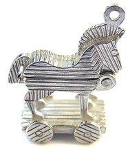 Sterling 925 Silver Trojan Horse Charm Opening to show Army inside. Ring... - $34.30