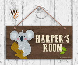 Koala Sign, Woodland Personalized Sign, Kid's Name, Kids Door Sign, 5x10... - $16.29