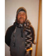 Hand crochet black variegated earflap hat and extra long scarf - $30.00