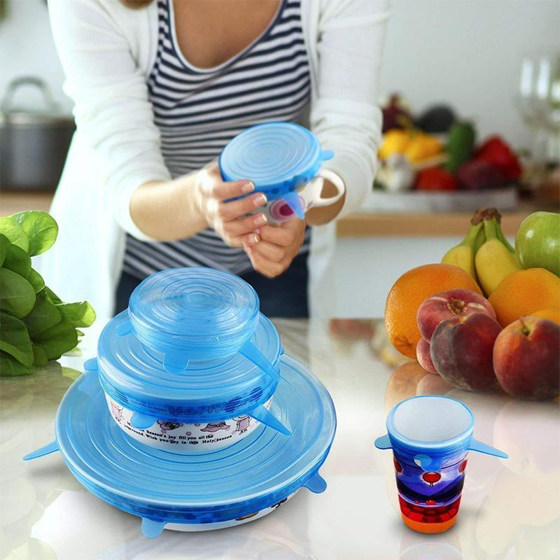 6PCS Reusable Food Cover Fresh Keeping Sealing Stretch Lid Kitchen Storage Conta