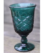 VINTAGE PINE EMERALD GREEN TULIP STEM GOBLET PRESSED GLASS DIAMOND WINE ... - $23.99