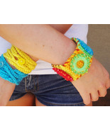 Boho Bohemian Neon Crocheted Wrap Bracelets and... - $3.00