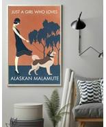 Vintage Girl Who Loves Alaskan Malamute, Art Prints Poster Home Decorati... - $25.59+