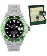 2008 UNPOLISHED ENGRAVED Rolex Submariner Green Kermit 50th Anniversary ... - $13,993.31