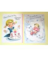 Pair of Vintage Cards Birth Announcement & Birthday Party Cards Hallmark... - $8.42