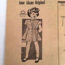 1940s Anne Adams Toddler Girl Jumper Dress Blouse Sewing Pattern 4949 Si... - $11.60