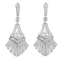 Sterling Silver CZ Fan Shaped Drop Earrings - $98.01