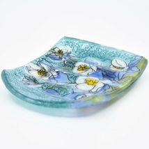 Fused Art Glass Blue Columbine Flower Floral Design Soap Dish Handmade Ecuador image 3