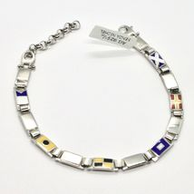 SILVER BRACELET 925 RHODIUM WITH FLAGS NAUTICAL GLAZED TILES MADE IN ITALY image 3