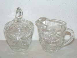 Vintage glass Star of David Anchor Hocking cream & sugar bowl serving se... - $10.00