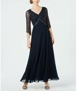 J Kara Embellished 3/4-Sleeve Gown Navy Size 12 $269 - $142.49