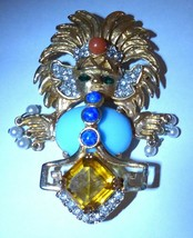 Rare Aztec Vintage Kenneth Jay Lane Early1960s Columbian Influenced Jewel Brooch - $595.00