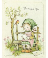 Vintage Thinking of You Card Girl on Bench Annaliese Unused With Envelope - $9.89