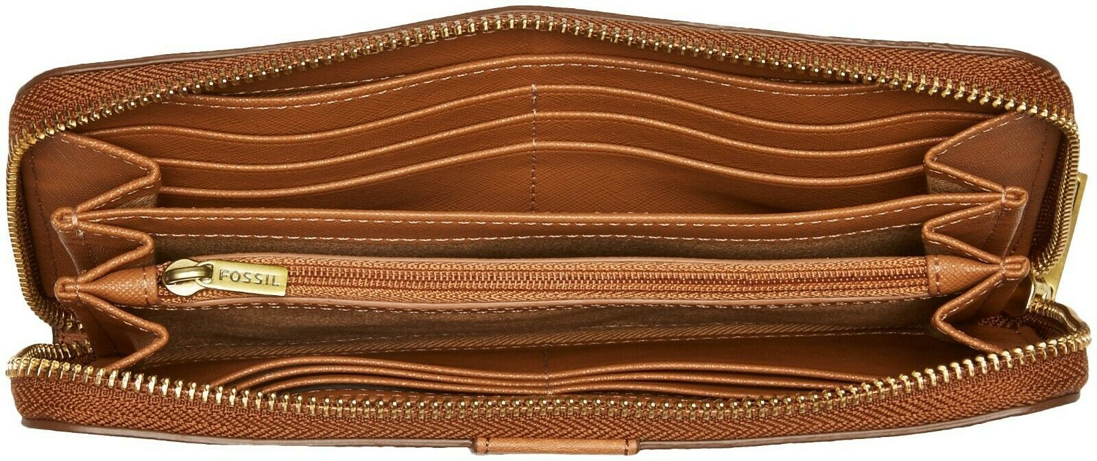 NWT Fossil Women's Emma Large Zip Clutch Wallet, White/Brown