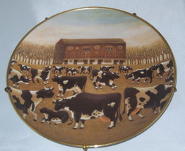 Spring Pasture COWS Collectible Plate Franklin Mint Limited Edition Hanging - $13.57