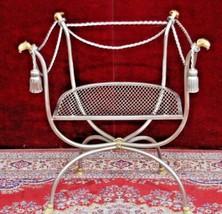 Rams Head Vanity  Chair Metal Silver Gold Hoof Feet - $300.00