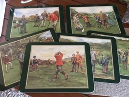 JASON COASTERS 6 VTG Golfing Memories Dinner Snack Cork Placemat Set Bx68 - $26.43