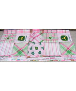John Deere JD Floral Madras Patch Pink Cotton 1/2 Fabric - $12.99