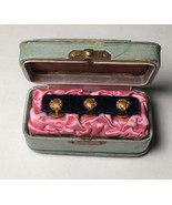 3 Antique Shirt Stud Lucky 4 Leaf Clover Horseshoe with Antique Padded Case - $49.50