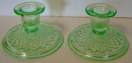 Pr Imperial Diamond Quilted Green Vaseline Depression Glass Candle Holders  - $22.00