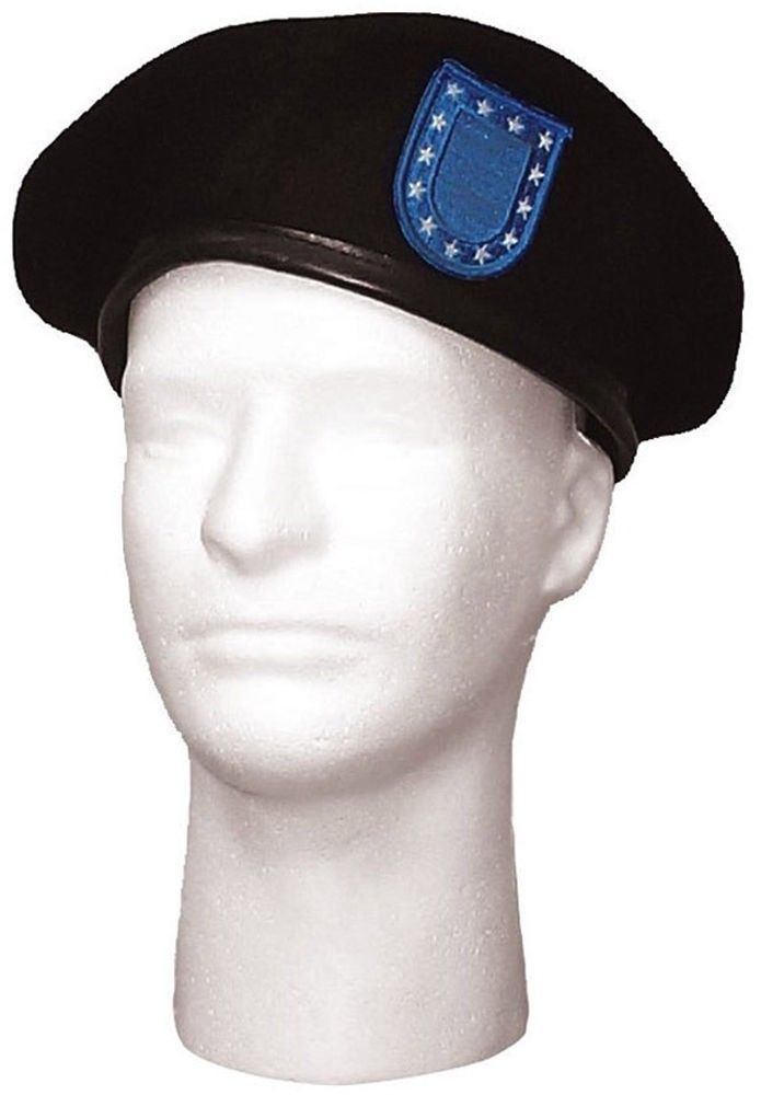 70da7a82866 Black Wool Military Beret with Blue Flash   and 46 similar items