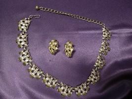 Mid Century Modern CORO Silver Tone Basket Weave Necklace & Lever Clip E... - $35.64