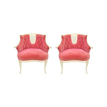 Vintage French Louis Velvet Bergere Chairs-A Pair - $1,795.00