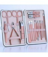 18pcs SET Nail Care Manicure Tool Stainless Steel Pink - £24.98 GBP