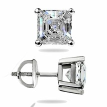 1.45 Ct Asscher Cut Solitaire Lab Stud Earrings 14K White Gold ScrewBack... - $61.80