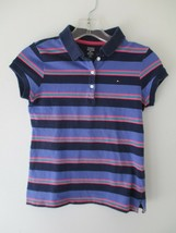 Tommy Hilfiger Girl's Size Large Purple Striped Short Sleeve Polo Shirt Top - $15.00