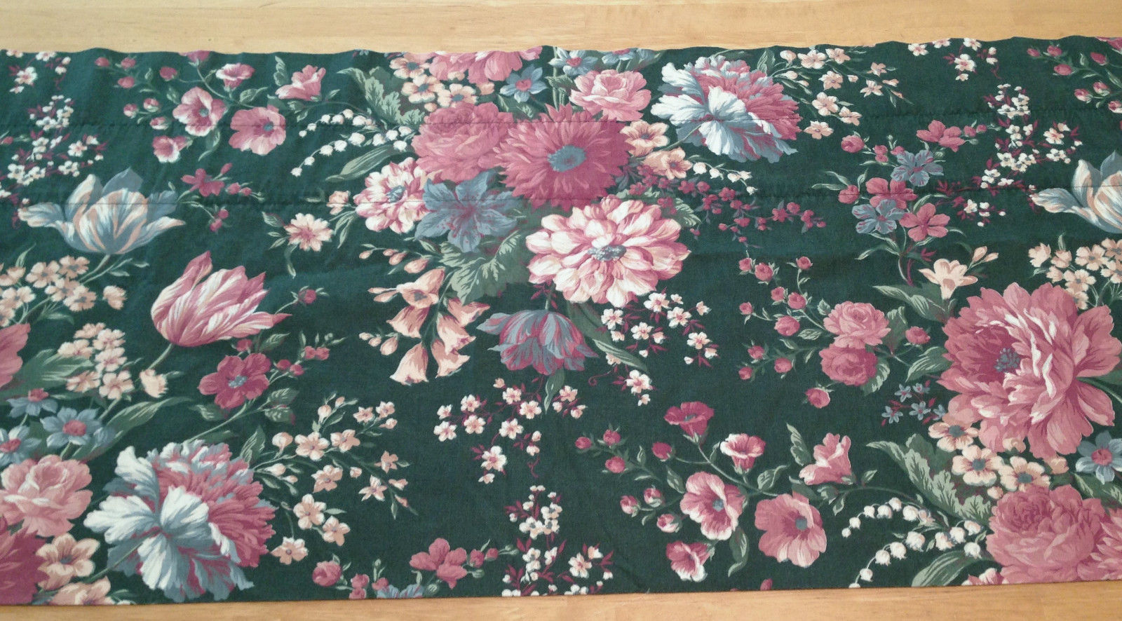 "Croscill Granada Green Pink Blue Floral Tailored / Blouson Valance 88"" USA Made"