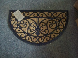 Natural Coir Brush Mat with Rubber Back, Half-Moon Shape - $29.65