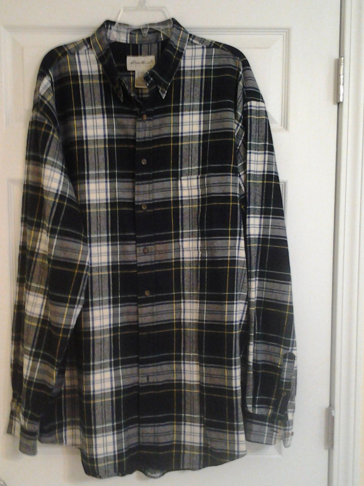 Eddie bauer mens sz xl thick flannel shirt long sleeve for Mens xl flannel shirts
