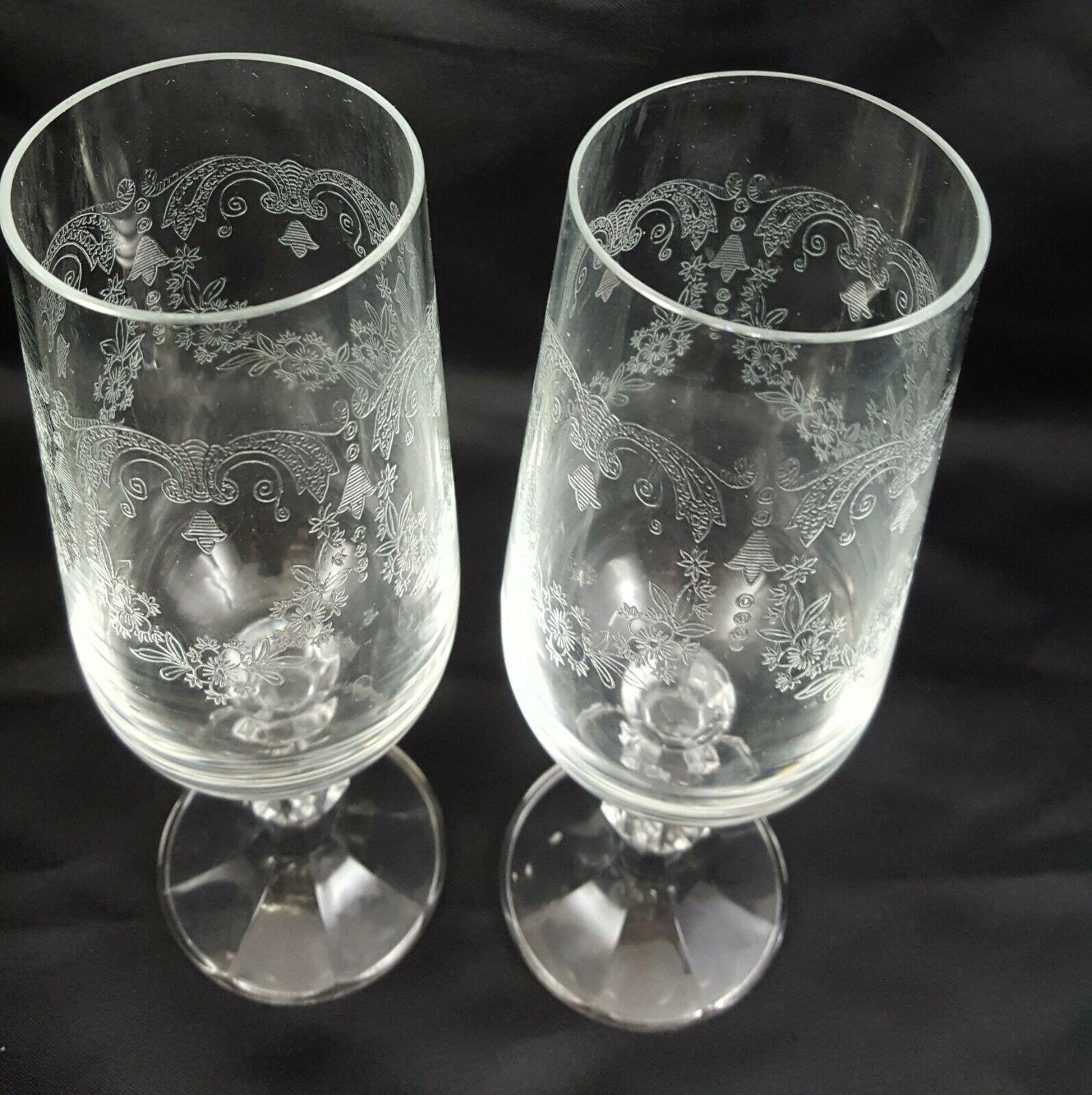 Crystalex Import Assoc Cascade Champagne Flutes Set of 2 Czech Crystal 6 oz image 8