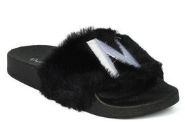 New Women Faux Fur NY - New York Open Toe Slip On Footbed Slide -17849 By Qupid image 3
