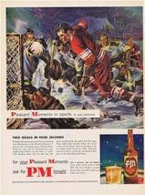 1952 HOCKEY John Floherty Jr Art PM Whiskey Print Ad - $9.99