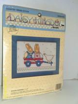 """Bucilla Daisy Kingdom Counted Cross Stitch 7"""" x 5"""" Wagon Buddies 1991 w/Frame - $5.80"""