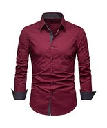 Manwan walk Mens Dress Shirts Regular Fit Button Down Long (X-Large|Wine... - $31.94