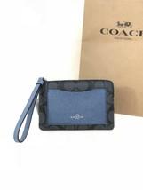 NWT Coach F22713 Corner Zip Wristlet PVC Leather Black Smoke Metallic Na... - $33.95