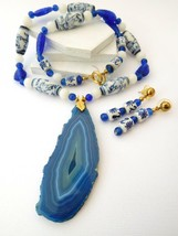 Vintage Asian Painted Ceramic Blue Glass Bead Agate Necklace Earrings Se... - $20.39