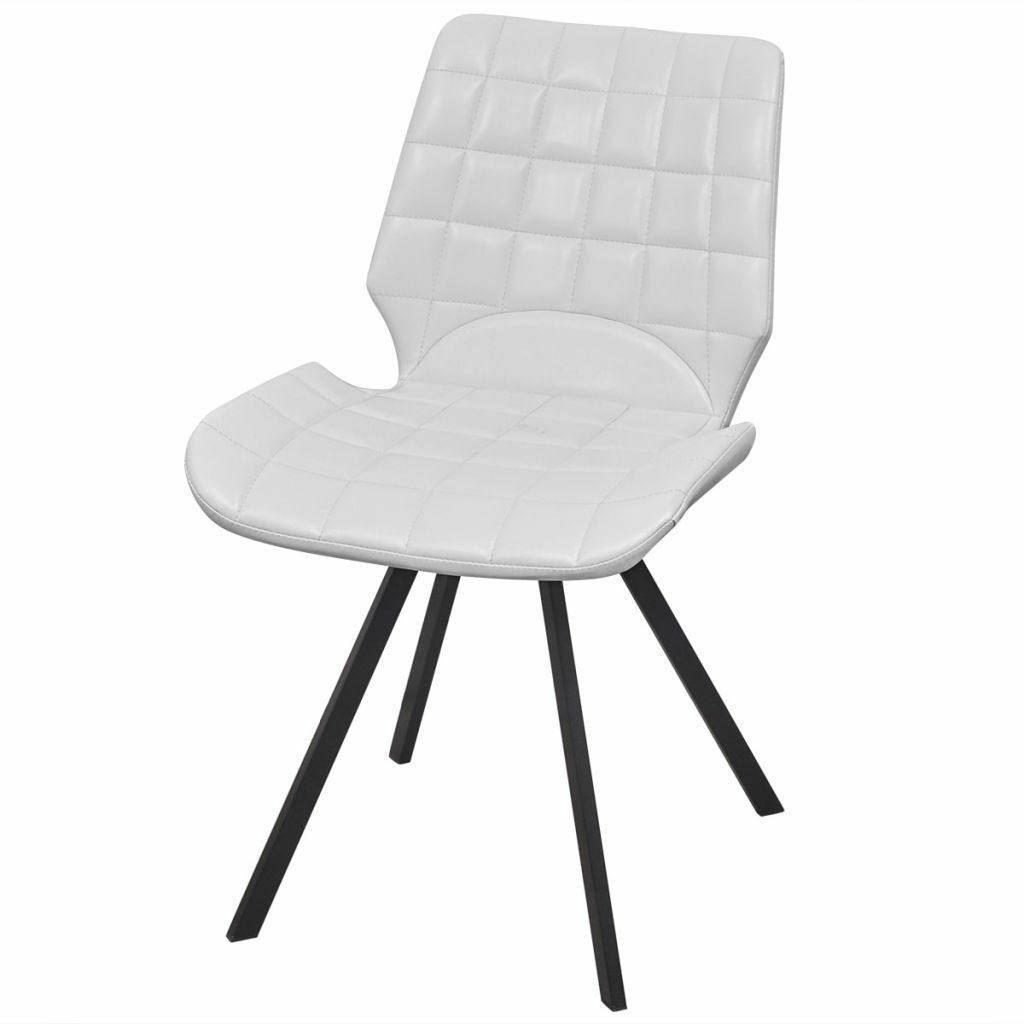 vidaXL Set of 4 Dining Office Living Room Kitchen Chair Artificial Leather White image 2