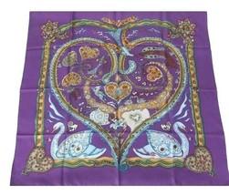 Hermes Carre 90 Scarf Stole De Tout Coeur by Zoe Ghertner Purple Silk Ne... - $8.755,31 MXN