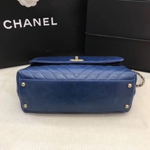 100% AUTHENTIC CHANEL CHEVRON QUILTED ROYAL BLUE MEDIUM COCO HANDLE BAG GHW image 7