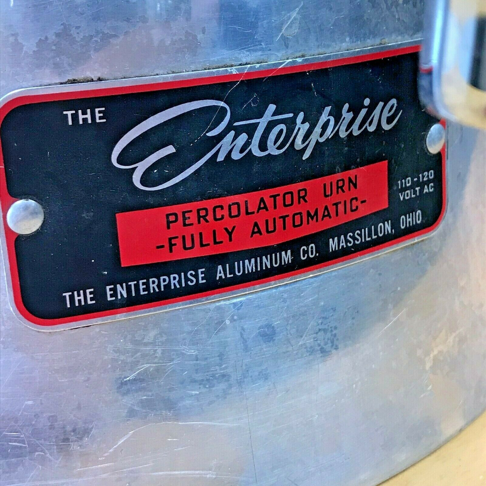 Vintage Enterprise Coffee Percolator 58 cup Urn Model AP48N WORKS Glass Knob LB image 3