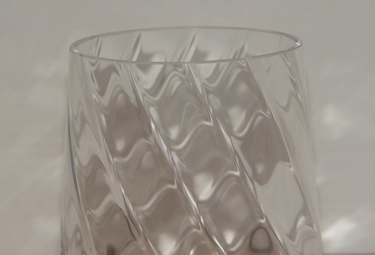 Large 7.5 inch Swirling Design Clear Crystal Vase