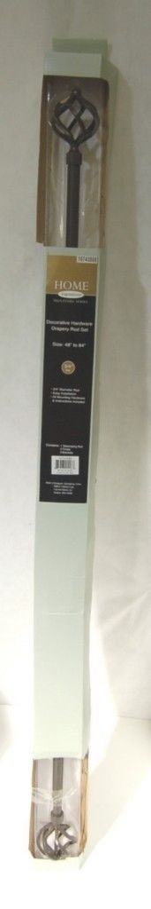 Home Inspirations 10743888 Drapery Rod Finial Set 48 To 84 Inches Brown