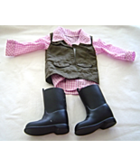 """Pink Top Olive Green Vest Black Boots Fits 18"""" Doll American Girl Our Ge... - $12.99"""