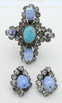 VTG Schreiner Japanned Cross Clear Rhinestone Blue Art Glass Pin Brooch ... - $296.99